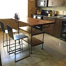 wood kitchen island table industrial pipe and wood kitchen island steel and wood