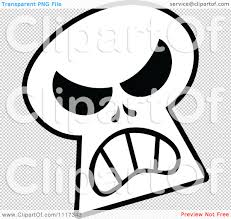 halloween skull background cartoon of a halloween skull with an angry expression royalty