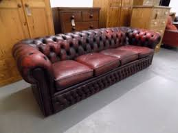 Vintage Ox Blood Red  Seater Leather Chesterfield Sofa In - 4 seat leather sofa