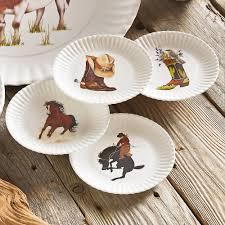horderve plates longhorn western appetizer plates 4 pcs