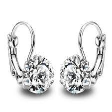 cubic zirconia earrings flash big zircon silver plated earing