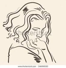 hand drawn sketch face sad beautiful stock vector 246898393