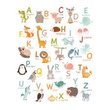 stickerscape illustrated animal alphabet wall sticker set large