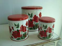 vintage metal kitchen canisters geranium rug for kitchen 50s vintage metal kitchen canisters