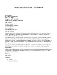 cover letter exle for resume sle cover letter exles for receptionist cover letter