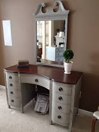 White Bedroom Furniture With Brown Top Classic Style Trifold Mirror Vanity Dressing Table With Vintage
