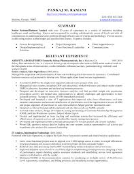 Analyst Resume Example Example Relevant Experience And Abbott Laboratories For Business