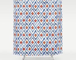 Orange And Blue Shower Curtain Mountain Shower Curtain Scenic Shower Curtain Blue Shower