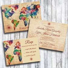 wedding wishes regrets travel themed wedding invitation with rsvp card travel themed