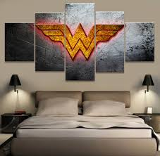 framed 5 piece canvas poster dc comics wonder woman logo paintings