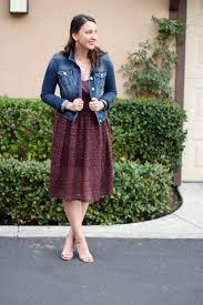 lunavida lace place denim jacket midi dress ankle strap heels