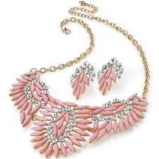 pink coloured beads necklace images Women 39 s latest unique statement fashion dress wear chunky marquise jpg