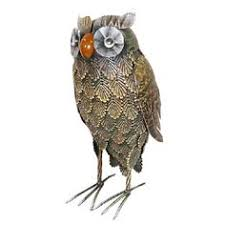 ornamental feathered owl small metal garden ornament metal