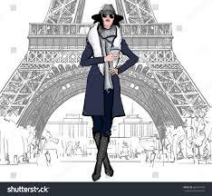 young pretty fashion model blue dress stock vector 669567970