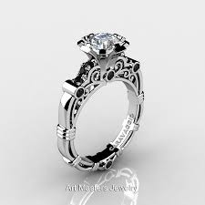 white topaz rings images Art masters caravaggio 14k white gold 1 0 ct white topaz black jpg
