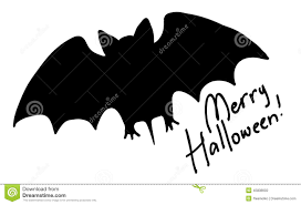 Halloween Bat Silhouette Hand Drawn Bat Silhouette With Greeting Stock Vector Image