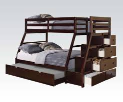 Bunk Bed With Stairs And Trundle Acme 37015 Jason Espresso Wood Twin Full Trundle Bunk Bed With