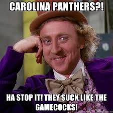 Panthers Suck Meme - carolina panthers ha stop it they suck like the gamecocks