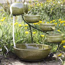 gorgeous solar water fountain design with four tier angel seating