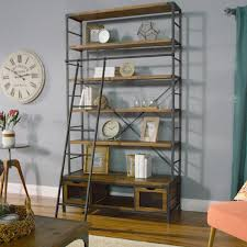 Short Ladder Bookcase by Wood And Metal Bookcase With Ladder World Market