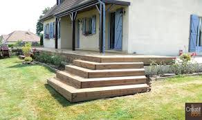 bloc marche escalier exterieur creuse 23 st priest la plaine terrasse bois et son escalier d