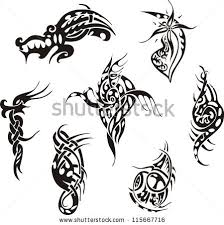 stylized dragon spiral tattoos set black stock vector 173645087