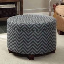 Chevron Storage Ottoman Blue Living Room Furniture Foter