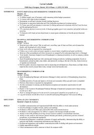 resume exles housekeeping housekeeping coordinator resume sles velvet