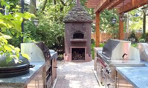 outdoor kitchen cabinets white brick l shaped outdoor kitchen dark
