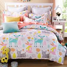 3 pieces rabbit deer wouldland forest friends flowers pink bedding
