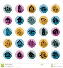 different houses icons for use in graphic design set of mansion