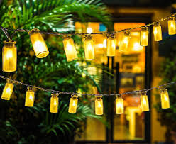 warm white solar fairy lights oak leaf solar string lights 9 8 ft 30 leds waterproof glass jar