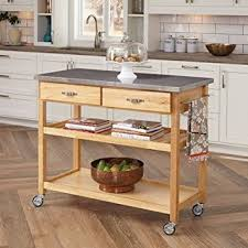 kitchen island cart butcher block amazon com large kitchen island cart wheels rolling roller