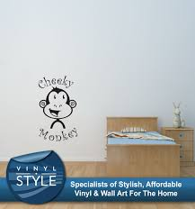 wall decals stickers home decor home furniture diy cheeky monkey kids bedroom sticker wall art various colours