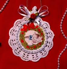 new handmade vintage style victorian christmas card tree ornament