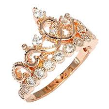 gold crown rings images Sterling silver princess crown ring rose gold plated jpg