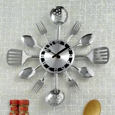 Home Decor Wall Clock Amazon Com Bits And Pieces Contemporary Kitchen Utensil Clock