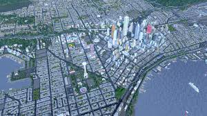 Downtown Seattle Map by Cities Skylines Player Constructs Central Seattle Using 50 000