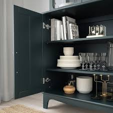 kitchen cabinets with blue doors lommarp cabinet with glass doors blue green 33 7 8x78