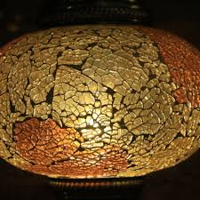 Crackle Glass Pendant Light by Crackle Glass Hanging Lamp In Golden Amber Mosaic Lamps Nyc