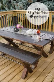 Diy Patio Table Diy X Leg Patio Table With Pipe Trestle Lemon Thistle