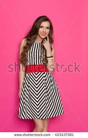 beautiful young woman black white striped stock photo 483530665