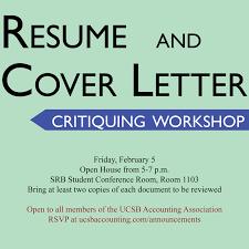 Undergraduate Accounting Resume Workshop Resume And Cover Letter Critiquing Undergraduate