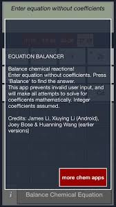 chemistry equation balancing calculator free on the app store