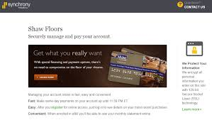 shaw flooring retailers credit card payment synchrony banking