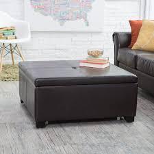 furniture leather storage ottoman coffee table ideas black