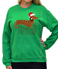 christmas sweatshirt dachshund through the snow christmas