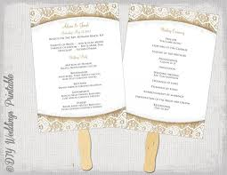 ceremony fans wedding program fan template rustic burlap lace diy order of