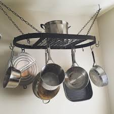 home pans kitchen try this hanging pot rack design for your kitchen