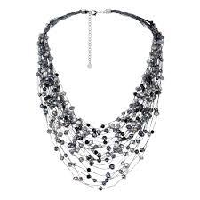 multi chain necklace images Shop handmade black grey pearl crystal silk layered multi strand jpg